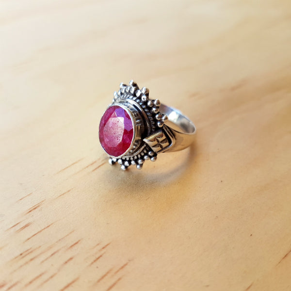 Rich Pink Ruby Ring - Inspired Tribe Silver Jewellery