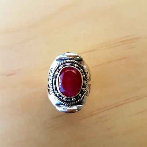 Three Technique Ruby Ring