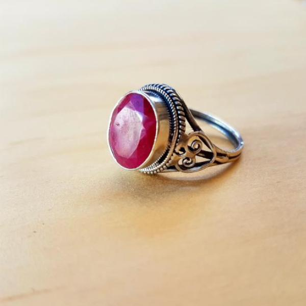 Classic Ethnic Ruby Ring - Inspired Tribe Silver Jewellery