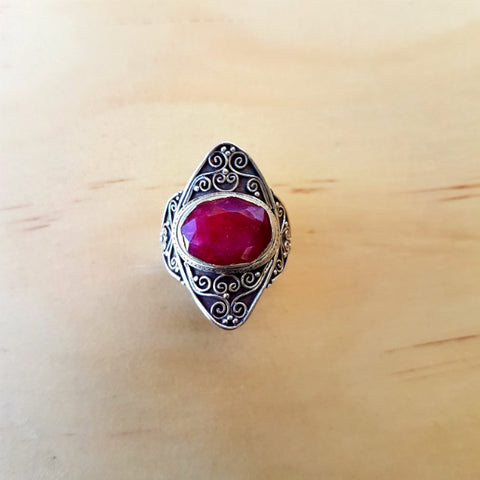 Big Beautiful Ruby Ring - Inspired Tribe Silver Jewellery