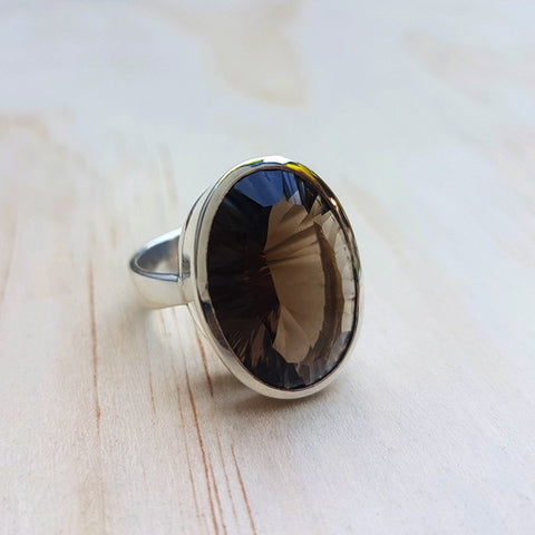 Smoky Quartz Concave Cut Ring - Inspired Tribe Silver Jewellery
