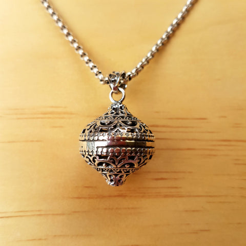 Diamond Sphere Silver Pendant