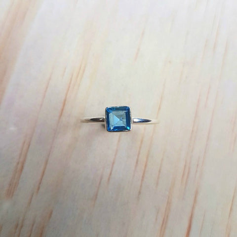 Small Square Topaz Silver Ring