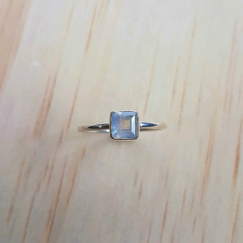 Small Square Rainbow Labradorite (Moonstone) Silver Ring