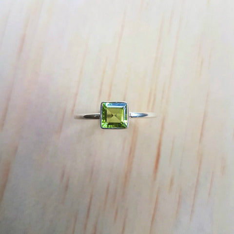 Small Square Peridot Silver Ring