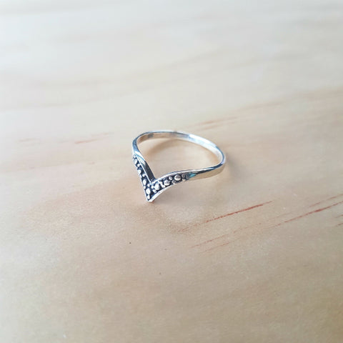 Detailed Wishbone Stacker Ring - Inspired Tribe Silver Jewellery