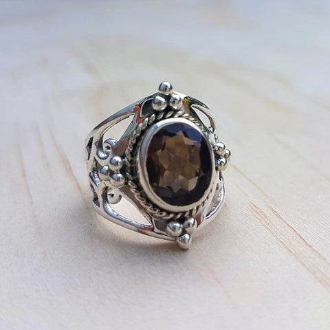Jali Smoky Quartz Ring in Sterling Silver - Inspired Tribe Silver Jewellery