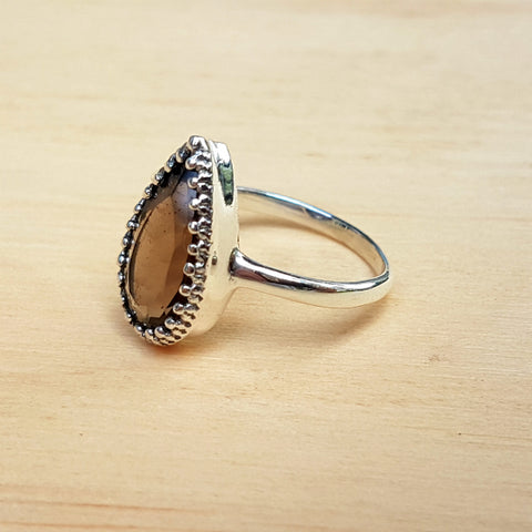 Smokey Quartz Artisan Teardrop Ring