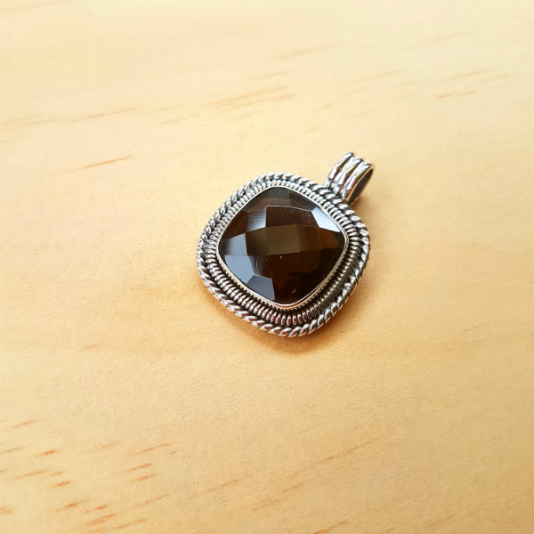 Cushion Cut Smoky Quartz Artisan Pendant - Inspired Tribe Silver Jewellery