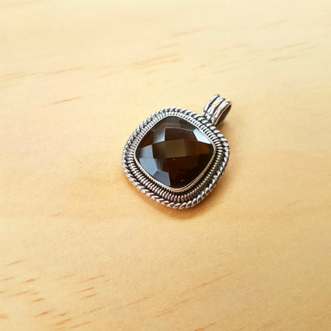Cushion Cut Smoky Quartz Artisan Pendant