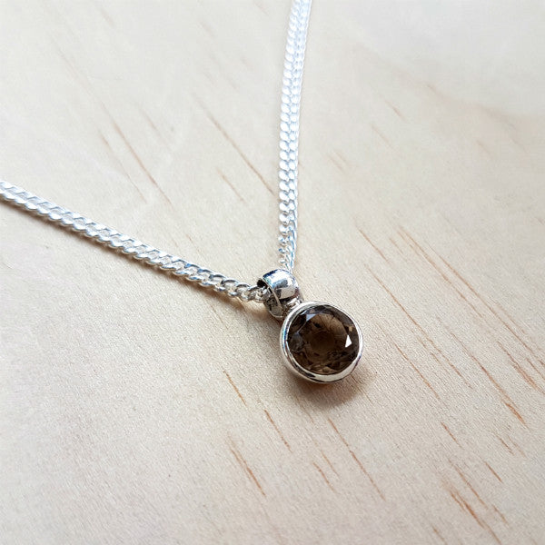 Teeny Tiny Sterling Silver and Smoky Quartz Charm Pendant - Inspired Tribe Silver Jewellery