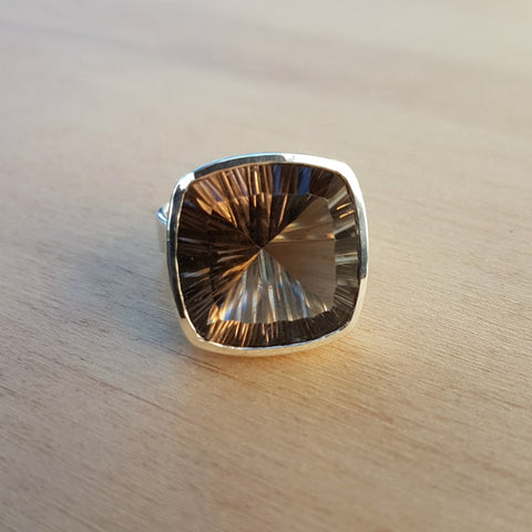 Smoky Quartz Concave Luxe Ring