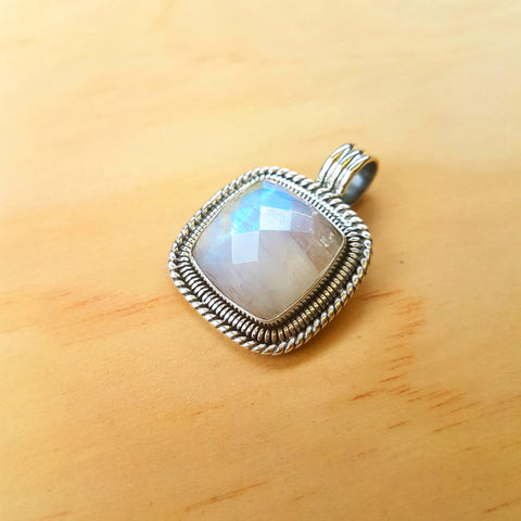 Cushion Cut Rainbow Moonstone Artisan Pendant - Inspired Tribe Silver Jewellery