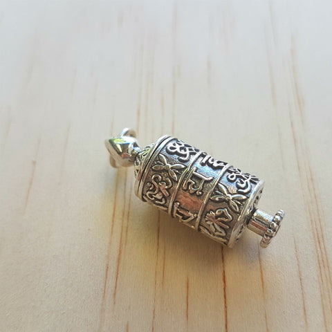 Tibetan Prayer Wheel Pendant - Inspired Tribe Silver Jewellery