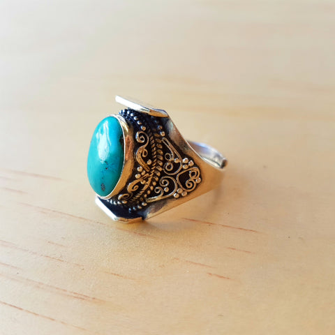 Tibetan Turquoise Saddle Ring - Inspired Tribe Silver Jewellery