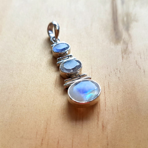 Rainbow Labradorite (Moonstone) Three Stone Pendant