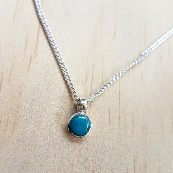 Teeny Tiny Sterling Silver and Turquoise Charm Pendant