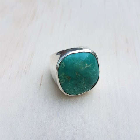Contemporary Square Turquoise Ring - Inspired Tribe Silver Jewellery