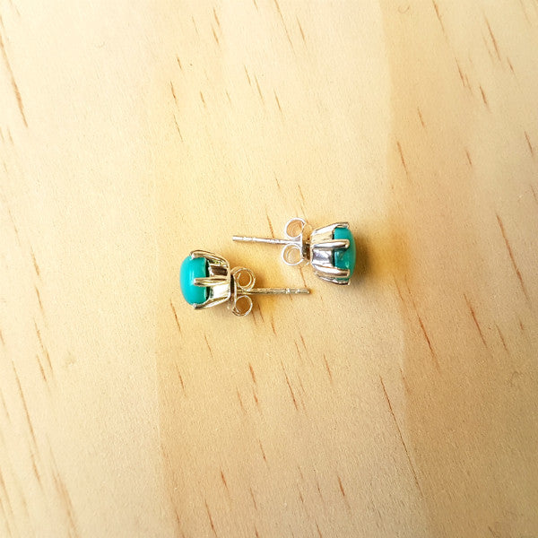 Prong Set Turquoise Studs - Inspired Tribe Silver Jewellery
