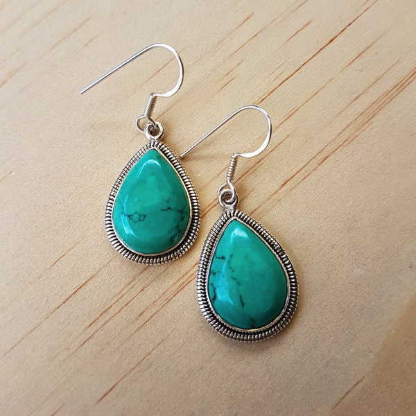 Tibetan Turquoise and Silver Earrings - Inspired Tribe Silver Jewellery