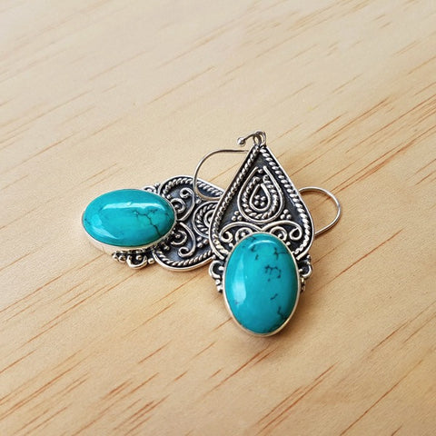 Ethnic Turquoise and Silver Earrings - Inspired Tribe Silver Jewellery