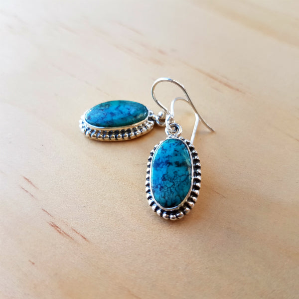 Elongated Oval Turquoise Earrings - Inspired Tribe Silver Jewellery