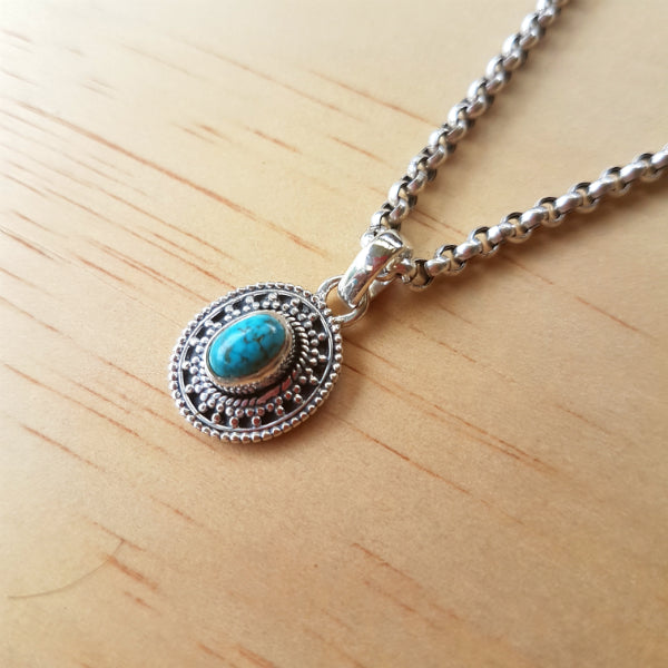 Oval Turquoise Artisan Elfin Pendant - Inspired Tribe Silver Jewellery
