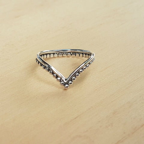 Silver Dotty Wishbone Ring