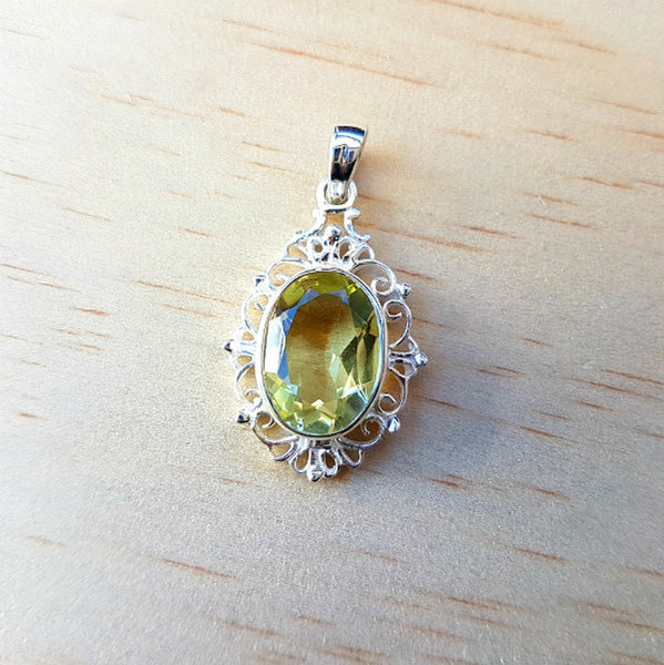 Filigree Faceted Lemon Quartz Pendant - Inspired Tribe Silver Jewellery