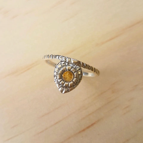 Citrine Grooved Silver Band Ring
