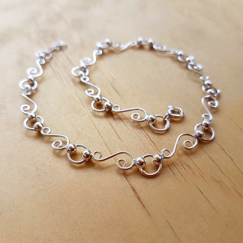 Sterling Silver Scroll Anklet