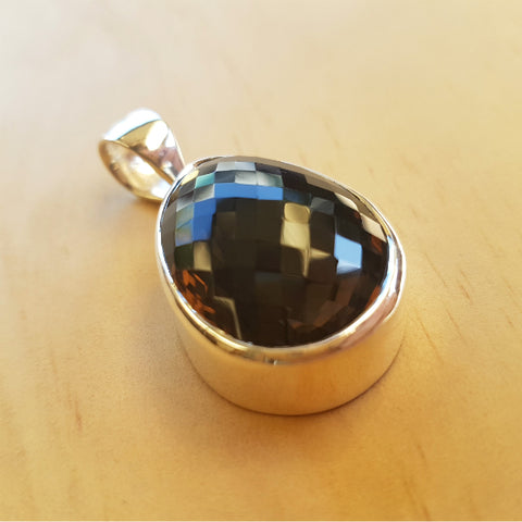 Smoky Quartz Checker Cut Teardrop Pendant