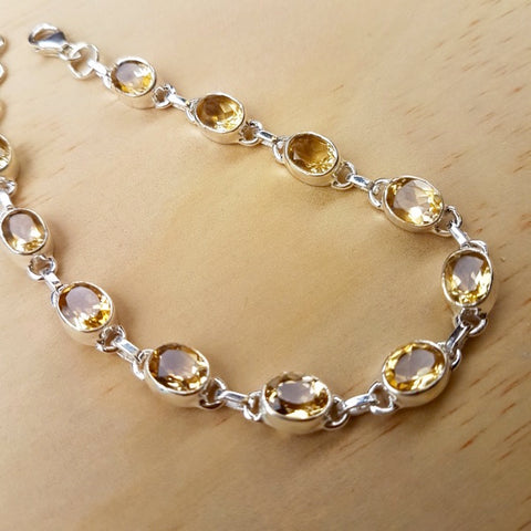 Citrine And Silver Contemporary Bracelet - Inspired Tribe Silver Jewellery