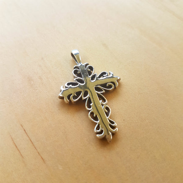 Silver Scroll Cross Pendant