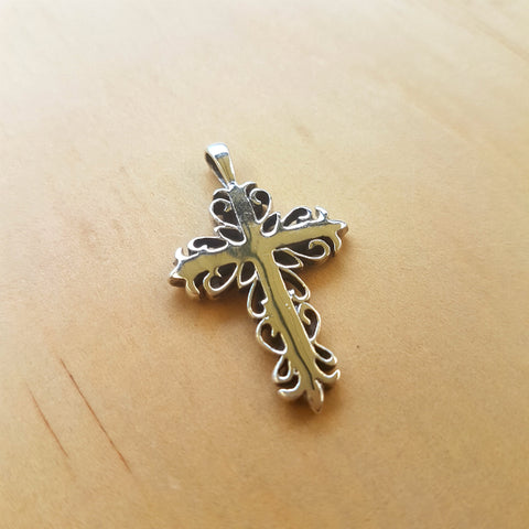 Scroll Silver Cross Pendant