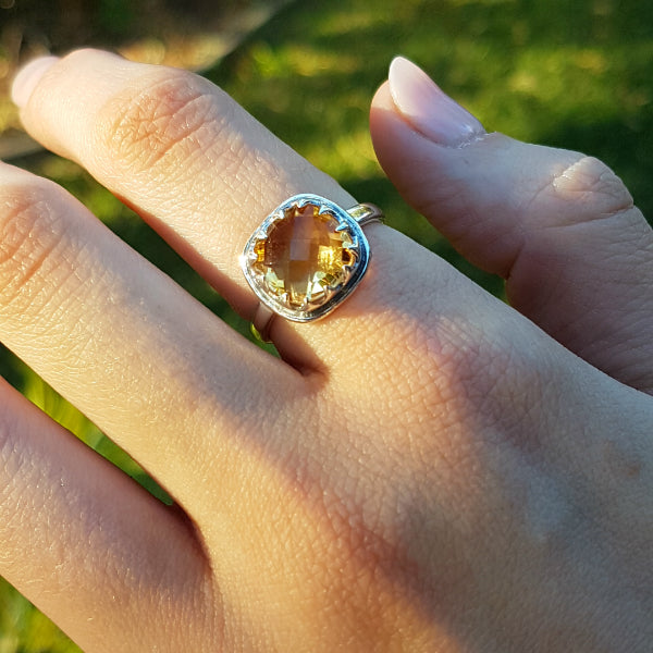 Citrine Rose Cut Ring