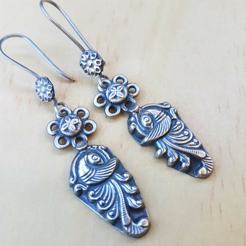 Silver Tribal Maharani Peacock Earrings