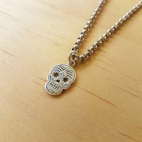 Silver Day of The Dead Sugar Skull Pendant