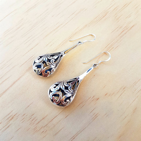 Etched Jali Earrings - Inspired Tribe Silver Jewellery