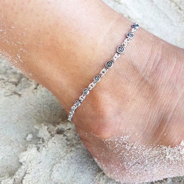 Sterling Silver Anklet with Spiral Detail - Inspired Tribe Silver Jewellery