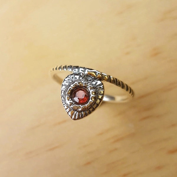 Garnet Grooved Silver Band Ring