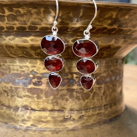 Garnet Three Gem Rose Earrings