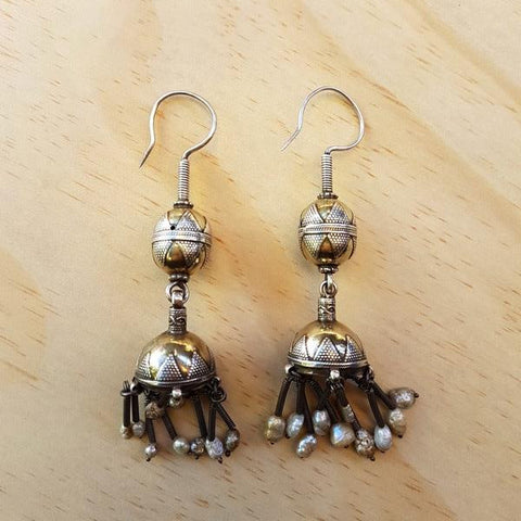 Stunning Vintage Turkoman Jhumka Silver and Gold Earrings - Inspired Tribe Silver Jewellery