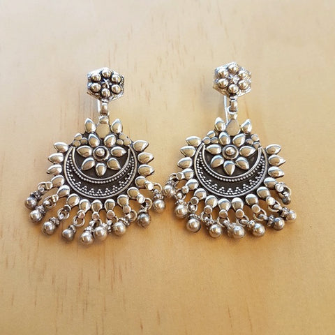 Traditional Rajput Silver Earrings