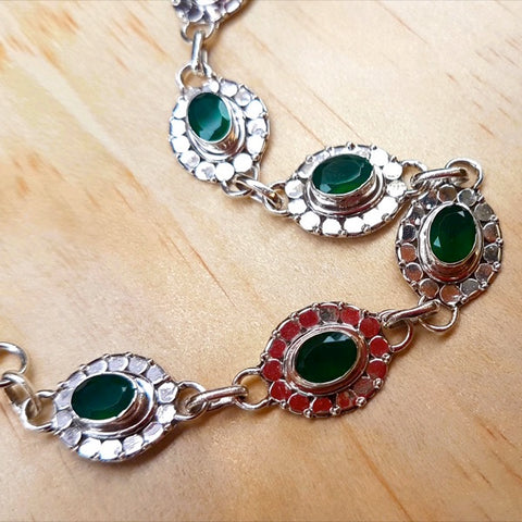 Green Onyx and Silver Detailed Tennis Bracelet - Inspired Tribe Silver Jewellery