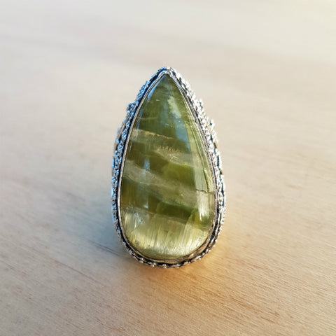 Pietersite (Green) Artisan Tiki Ring