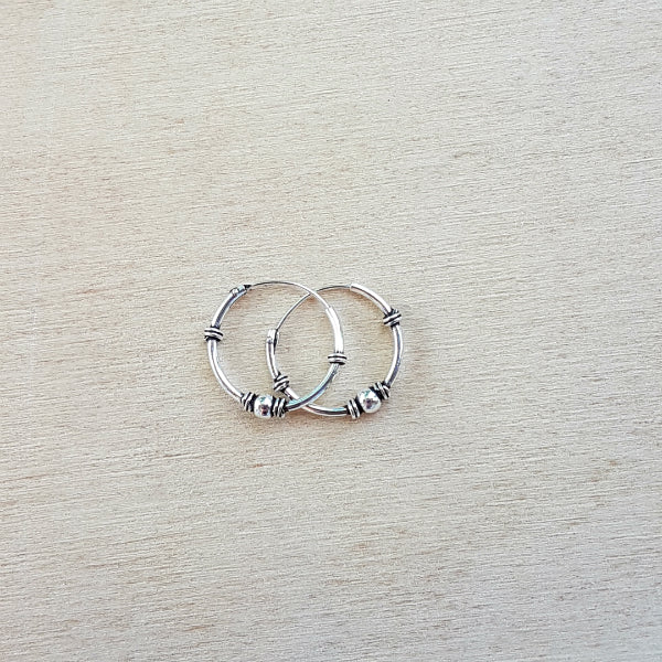 Silver Ethnic Mini Hoops