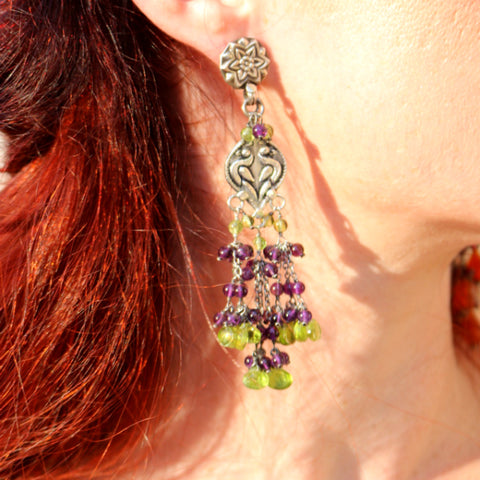 Big Boho Earrings Amethyst and Peridot Beaded Earrings