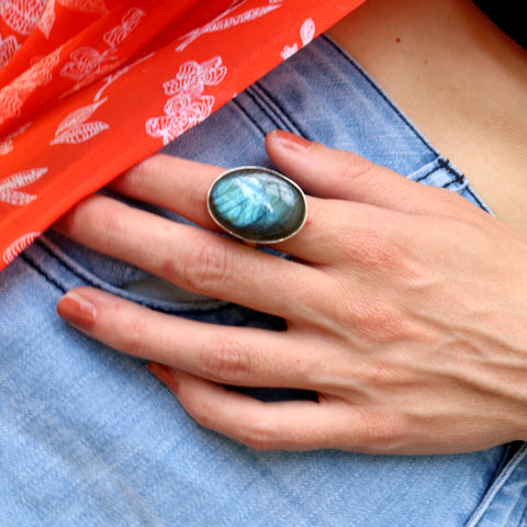Green-Toned Labradorite Ring - Inspired Tribe Silver Jewellery
