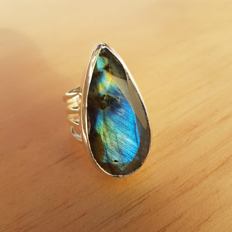 Labradorite Multi Band Ring